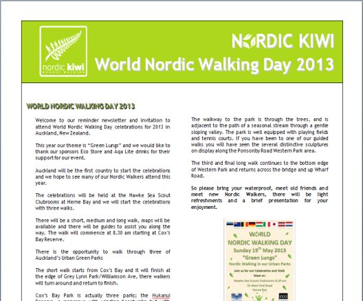 World Nordic Walking Day 2013 Newsletter